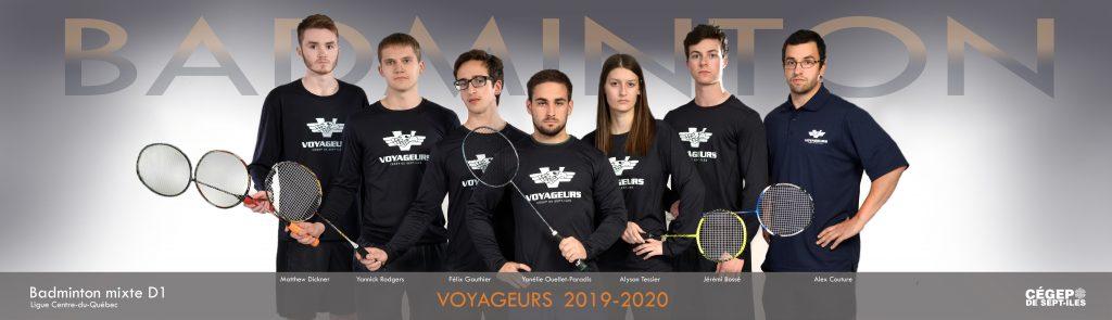 équipe de badminton Les Voyageurs 2019-2020