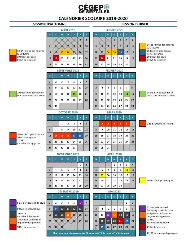 calendrier scolaire 2019-2020 du Cégep de Sept-Îles