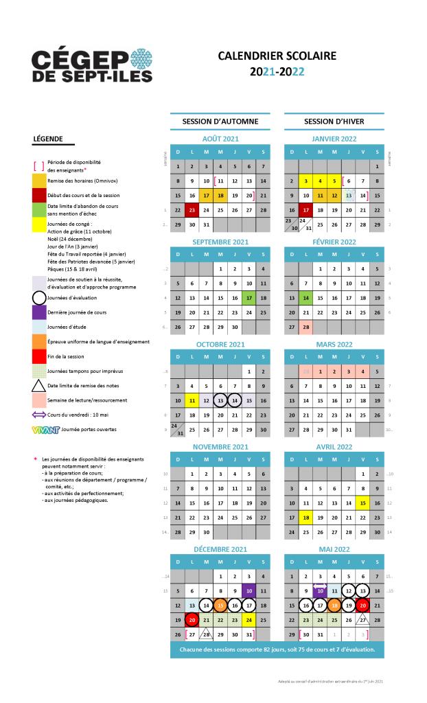 Calendrier scolaire 2021-2022